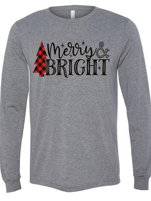 Merry and Bright Buffalo Plaid Christmas Tee