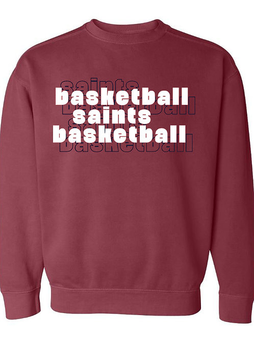 2112. OCS Basketball Stacked - Comfort Color Sweatshirt - Crimson