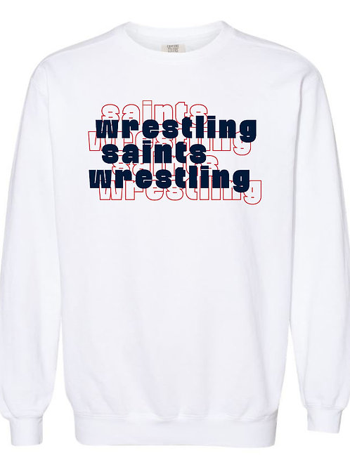 2611. OCS Wrestling Stacked - Comfort Color Sweatshirt - White