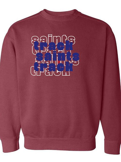 2512. OCS Track Stacked - Comfort Color Sweatshirt - Crimson