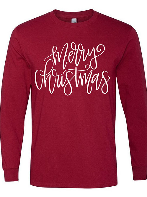 Merry Christmas-Next Level Long Sleeve-Red