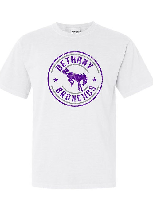9002. Bethany Bronchos Star Circle-Comfort Colors-White