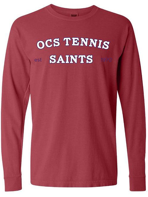 2318. Saints Tennis Arched - Youth Comfort Color LS - Crimson