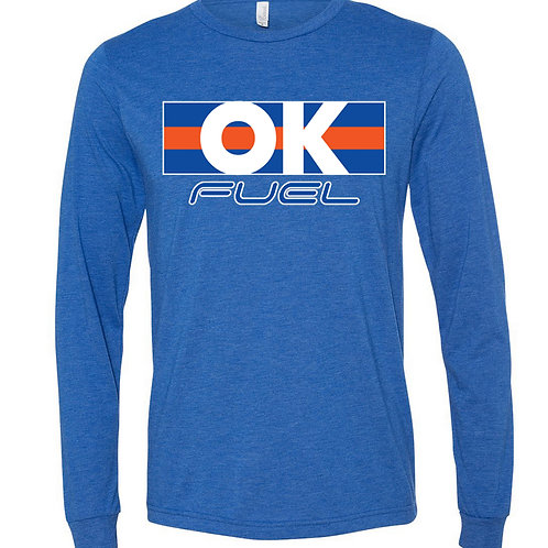 5040. OK Fuel Stripes - Bella Triblend - Long Sleeve - 4-Colors Availab