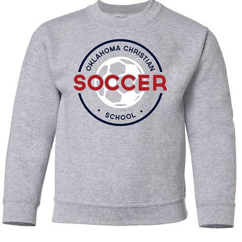 2208. OCS Soccer Circle Youth Crew Sweatshirt - Ath Gray