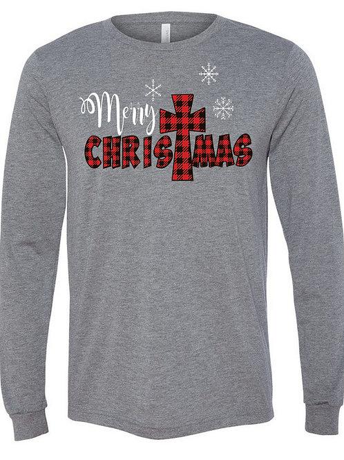 Merry Christmas-Soft, Long Sleeve Heather Grey