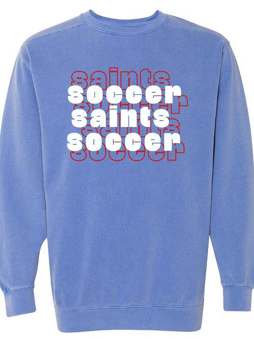 2212. OCS Soccer Stacked - Comfort Color Sweatshirt - Flo Blue