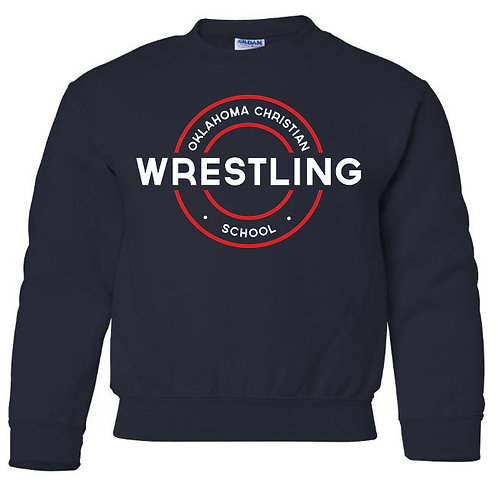 2610. OCS Wrestling Circle Youth Crew Sweatshirt - Navy