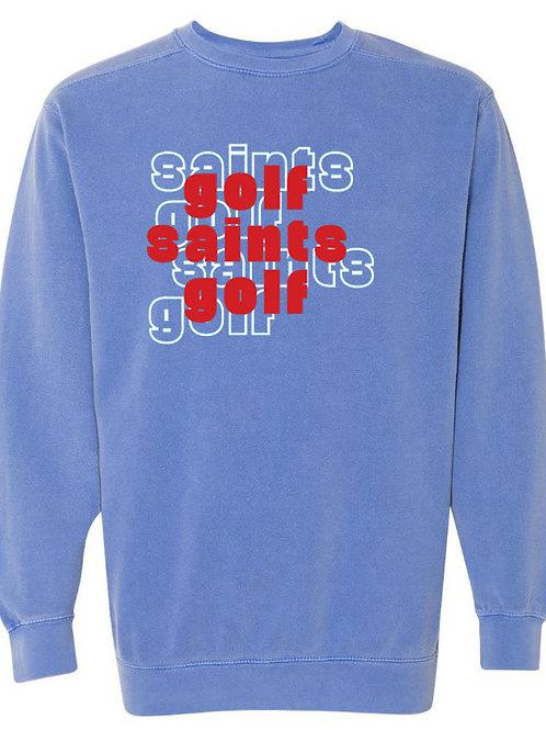 2412. OCS Golf Stacked - Comfort Color Sweatshirt - Flo Blue