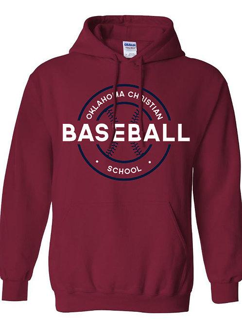 2705. OCS Baseball Circle Hoodie - Crimson