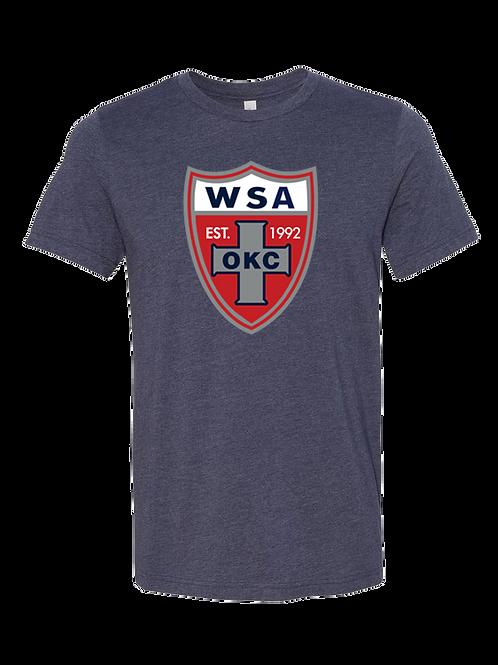 960-WSA-Shield-Soft Tee-MIDNIGHT HEATHER NAVY-Short Sleeve