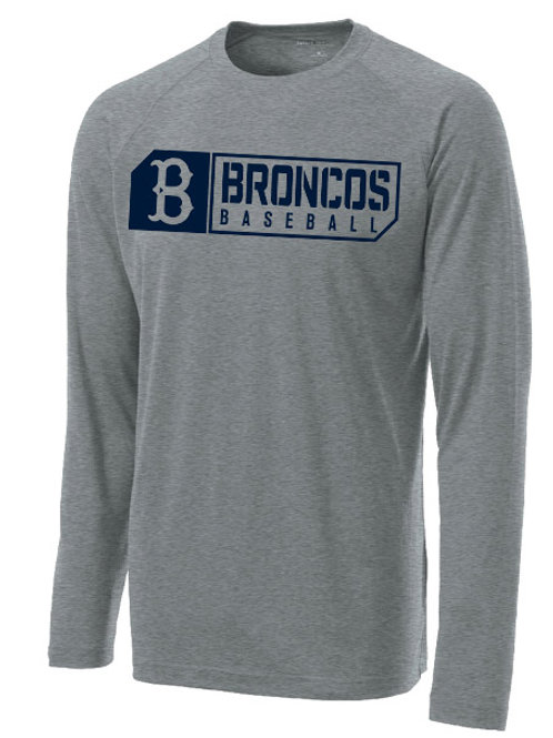 3014 - Broncos Baseball - LS Dri Fit - Gray