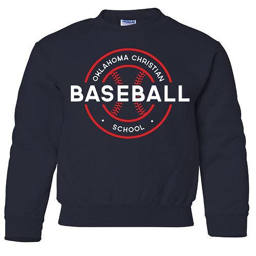 2710. OCS Baseball Circle Youth Crew Sweatshirt - Navy