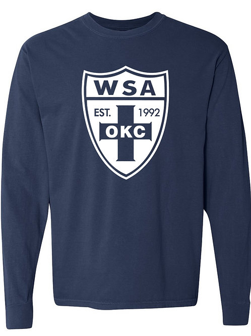 984-WSA-White Shield-COMFORT COLORS-Long Sleeve-Navy