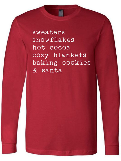 Christmas Words-Next Level Long Sleeve-Red
