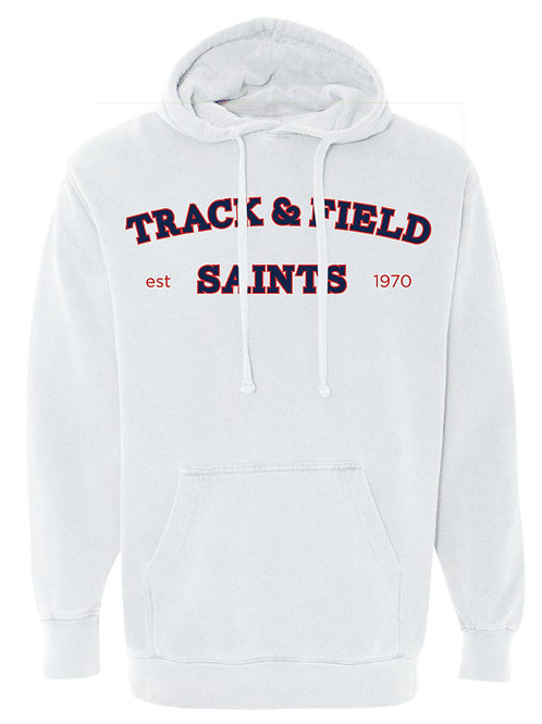 2516. Saints Track Arched - Comfort Color Hoodie - White