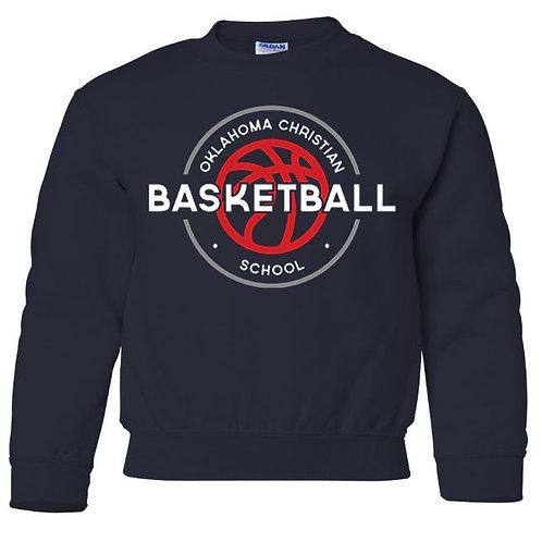 2109. OCS Basketball Circle Youth Crew Sweatshirt - Navy