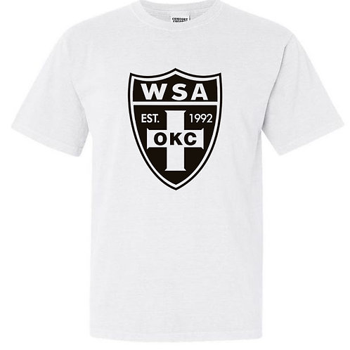 979-WSA-BLACK Shield-COMFORT COLORS-Short Sleeve-White