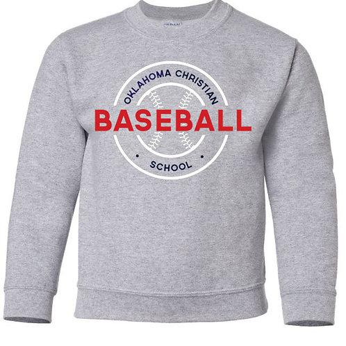 2708. OCS Baseball Circle Youth Crew Sweatshirt - Ath Gray