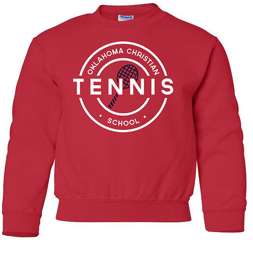 2309. OCS Tennis Circle Youth Crew Sweatshirt - Red