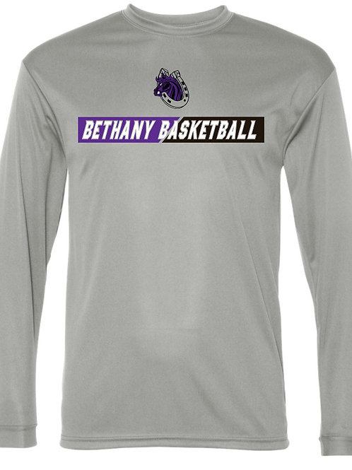 313. Bethany Basketball - Performance Long Sleeve - Silver
