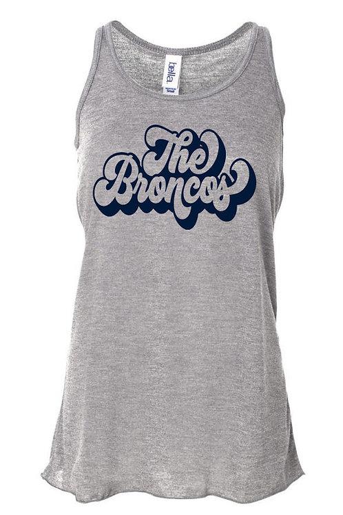 3002- The Broncos Retro Script - Ladies Flowy Bella Tank