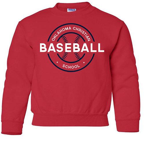 2709. OCS Baseball Circle Youth Crew Sweatshirt - Red