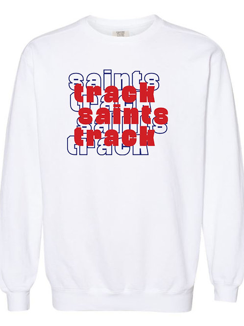 2511. OCS Track Stacked - Comfort Color Sweatshirt - White