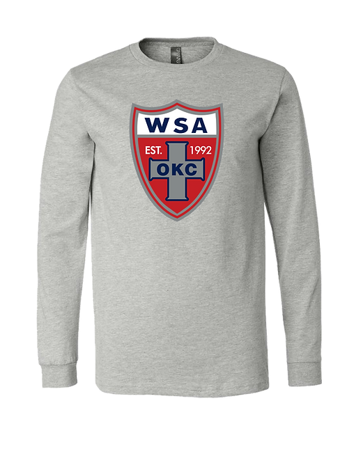 956-WSA-Shield-NL-Athletic Heather Grey LONG SLEEVE