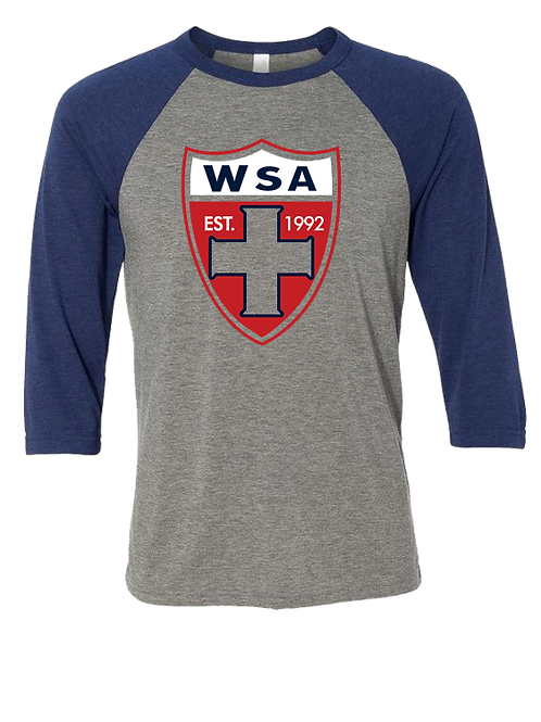 961-WSA-Shield-Raglan Tee-3/4 Sleeves Navy/Grey