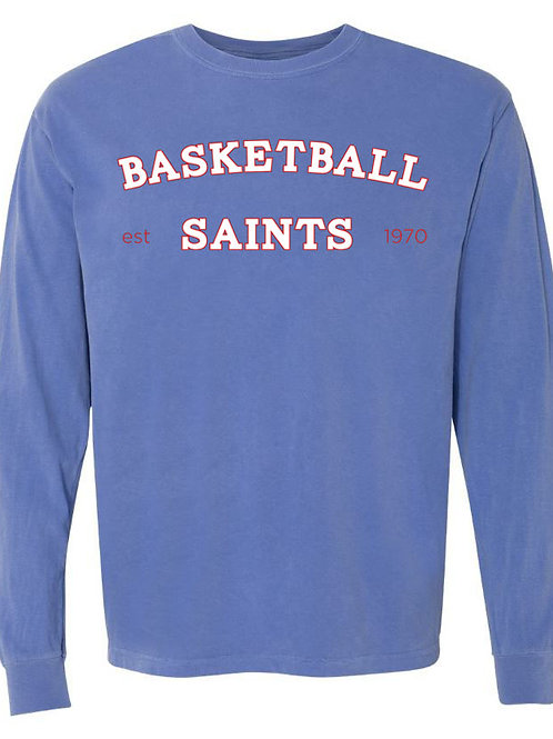 2117. Saints Basketball Arched - Youth Comfort Color LS - Flo Blue