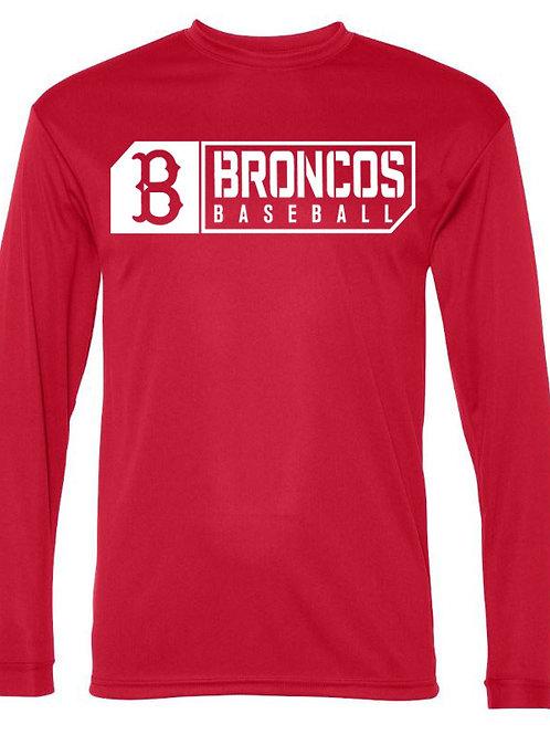 3017 - Broncos Baseball - LS Dri Fit - Red