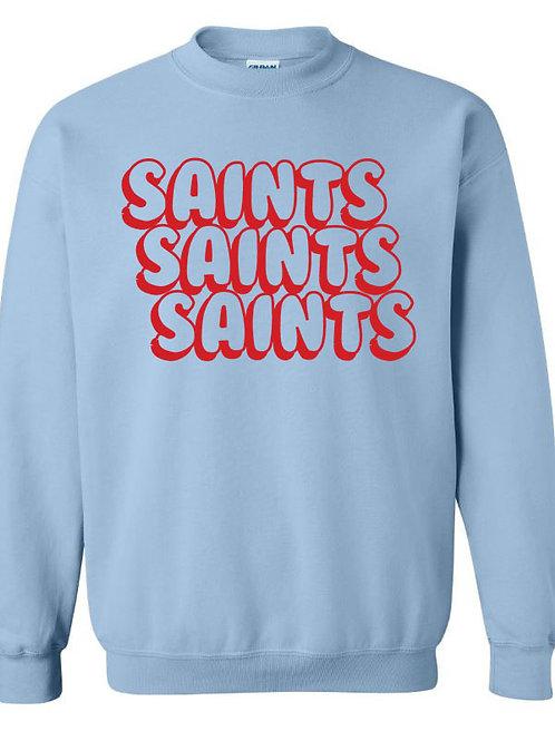 2808. Saints Bubble Stacked Sweatshirt - Light Blue