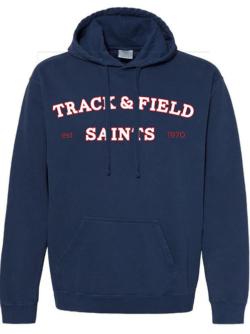 2515. Saints Track Arched - Comfort Color Hoodie - Navy