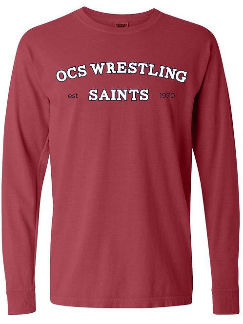 2618. Saints Wrestling Arched - Youth Comfort Color LS - Crimson