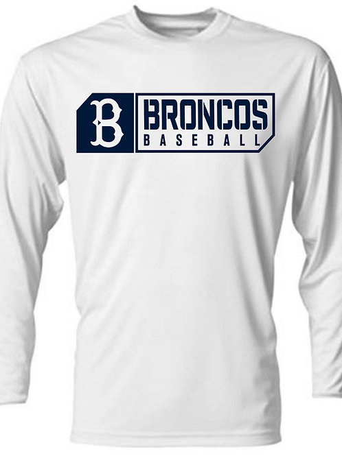3015 - Broncos Baseball - LS Dri Fit - White