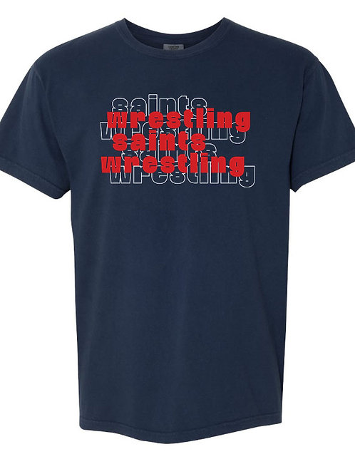 2614. OCS Wrestling Stacked - Comfort Color SS - Navy