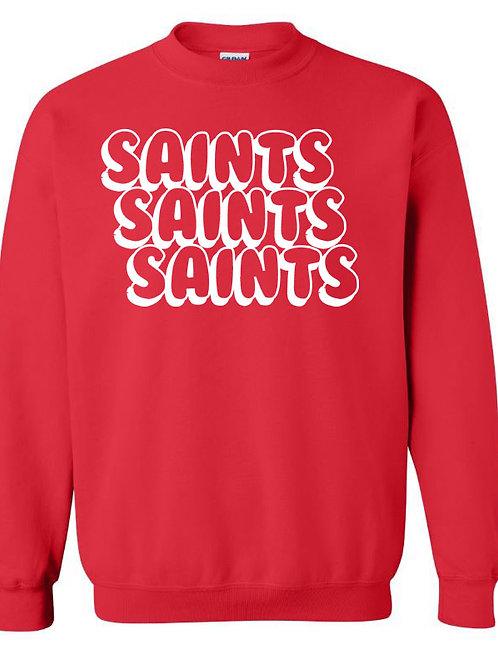 2809. Saints Bubble Stacked Sweatshirt - Red