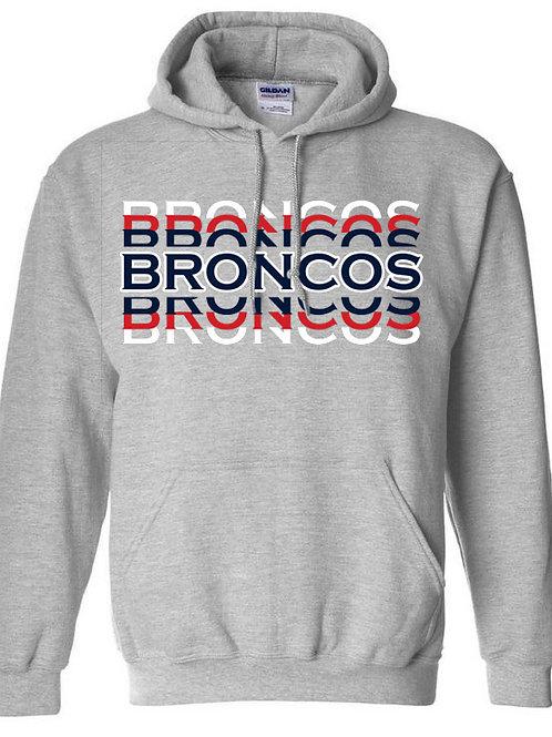 3024 - Broncos Stacked - Hoodie - Gildan Athletic Gray