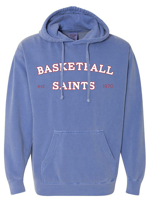 2115. Saints Basketball Arched - Comfort Color Hoodie - Flo Blue