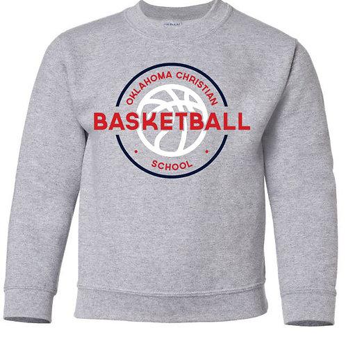 2108. OCS Basketball Circle Youth Crew Sweatshirt - Ath Gray