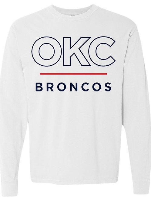 3007 - OKC Broncos Stripe - Comfort Colors Crew Sweatshirt