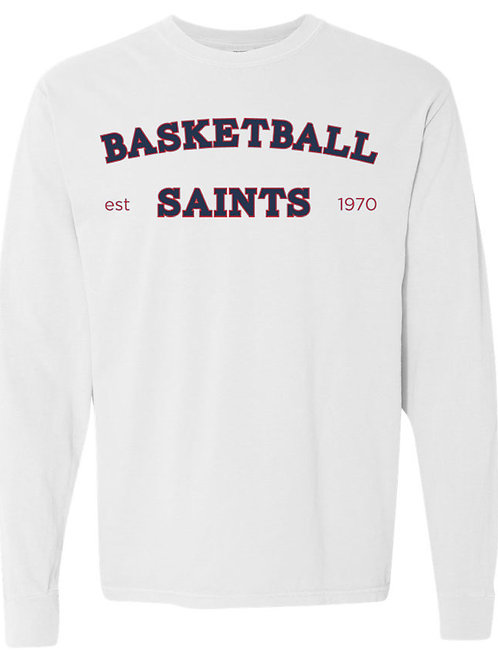 2118. Saints Basketball Arched - Youth Comfort Color LS - White