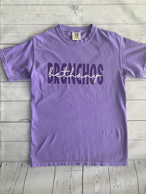 Bethany Bronchos Comfort Colors Tee-Violet