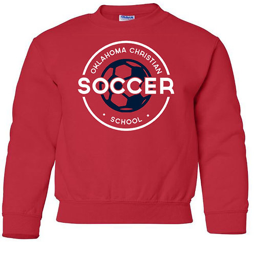 2209. OCS Soccer Circle Youth Crew Sweatshirt - Red