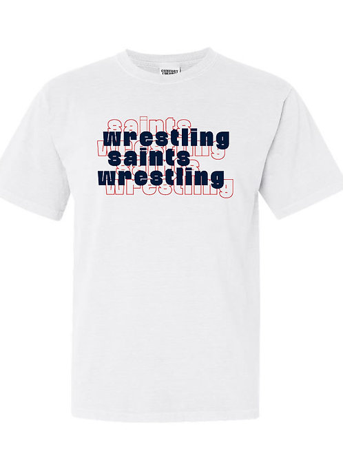 2613. OCS Wrestling Stacked - Comfort Color SS - White