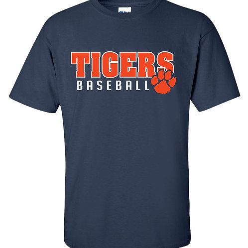 8U Tigers Baseball Short Sleeve Tee-Navy