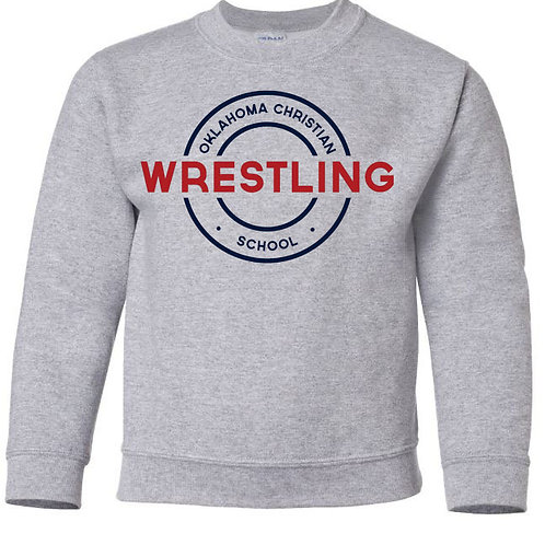 2608. OCS Wrestling Circle Youth Crew Sweatshirt - Ath Gray