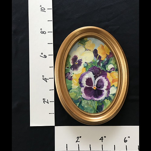 Framed Oil Pansies
