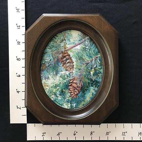 Framed Oil Pine Boughs